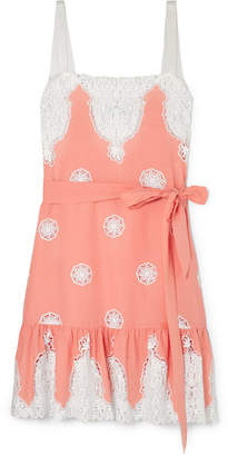 Miguelina Mindy Lace-trimmed Cotton-voile Dress - Blush