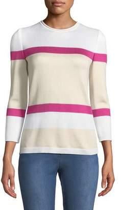 St. John Stripe Float Jacquard Knit 3/4-Sleeve Sweater