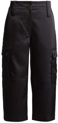 Loewe Cropped Satin Cargo Trousers - Womens - Black