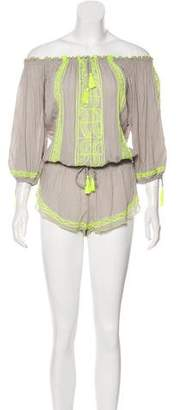 Poupette St Barth Embroidered Long Sleeve Romper