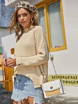 Shein Drop Shoulder Split High Low Hem Sweater