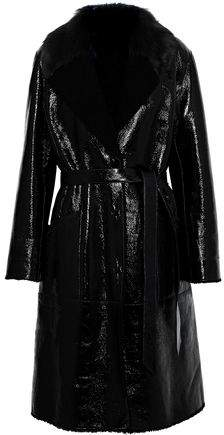 Shearling And Patent-Leather Coat