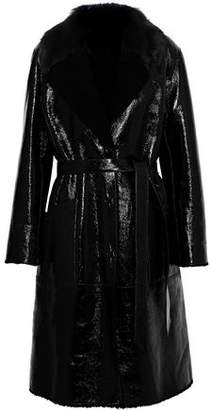 Yves Salomon Shearling And Patent-Leather Coat