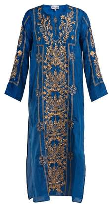 Juliet Dunn Metallic Embroidered Silk Kaftan - Womens - Blue Gold
