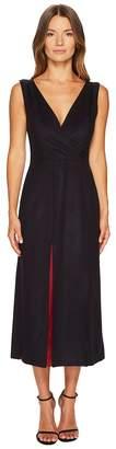 Jil Sander Navy Wool Sleeveless V-Neck Dress Women's Dress