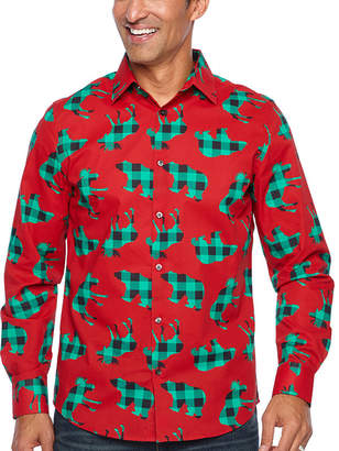 Co North Pole Trading B&T Jingle Shirt Long Sleeve Holiday Dress Shirt