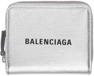 Balenciaga Silver and Black Small Square Logo Wallet
