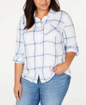 Style&Co. Style & Co Plus Size Plaid Cotton Button-Front Top, Created for Macy's