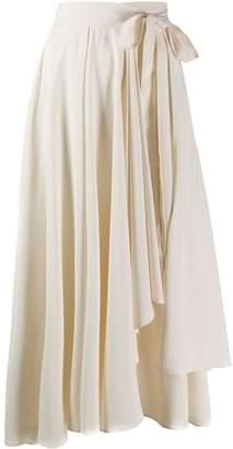 Alysi asymmetric wrap midi skirt