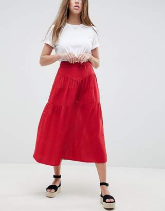 Asos DESIGN Midi Skirt with Tie Belt in Grid Texture