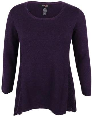 Style&Co. Style & Co. Womens Plus Asymmetric Knit Pullover Sweater Purple