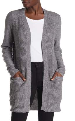 Marled Open Front Elbow Patch Cardigan