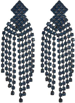 Kenneth Jay Lane Glass crystal waterfall fringe drop clip earrings