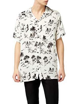 Lower East Men's Le232 Casual Shirt, White (Weiß/Schwarz)