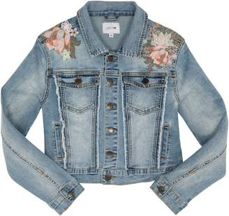 Joe's Jeans Floral Embroidery Frayed Denim Jacket