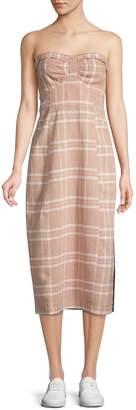 Free People Plaid Linen & Cotton Blend Midi Dress