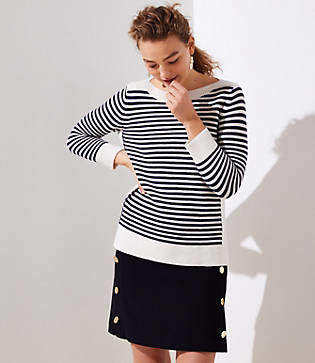 LOFT Striped Stitchy Boatneck Sweater