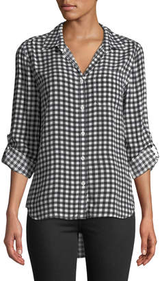 Velvet Heart Elisa Gingham Button-Front Roll-Sleeve Blouse