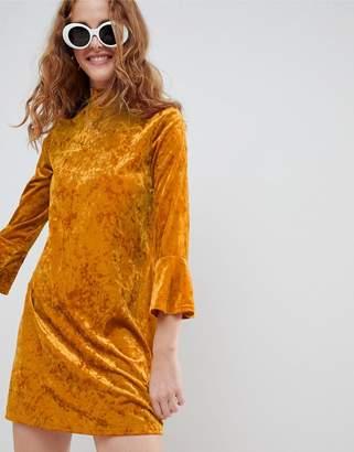 Monki flute sleeve velvet dress