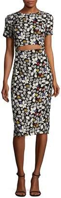 Suno Women's Solid Silk Cutout Body-Con Dress