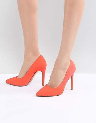 Asos DESIGN Paris pointed high heeled pumps in coral