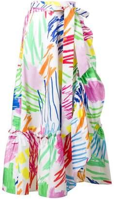 Mira Mikati scribble print wrap skirt