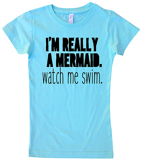 Aqua 'I'm Really a Mermaid' Fitted Tee - Toddler & Girls