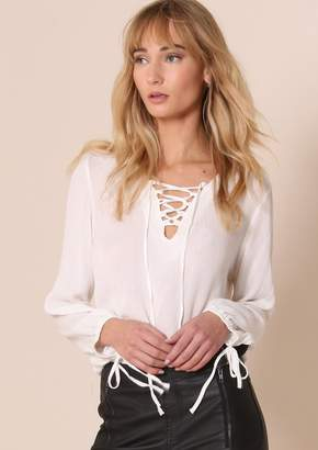 Missy Empire Missyempire Madelyn White Lace Up Front Blouse 9e7d196e2