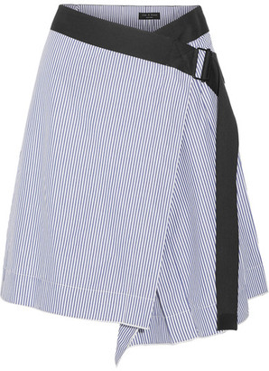 rag & bone - Lenna Striped Cotton And Silk-blend Wrap Skirt - Light blue $325 thestylecure.com