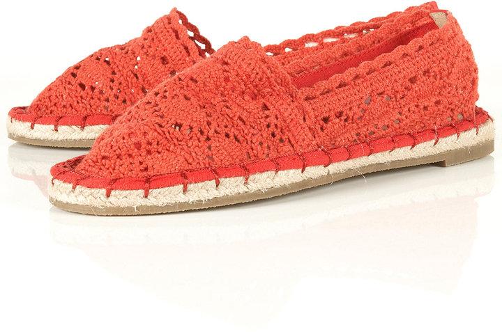 VANDA Red Crochet Espadrilles