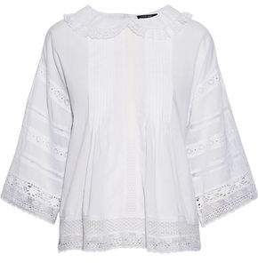 Love Sam Lace-paneled Pintucked Cotton-voile Blouse