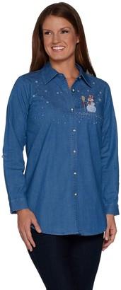 Factory Quacker Long Sleeve Button Front Denim Tunic w/ Holiday Motif