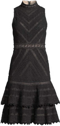 Alice + Olivia Azita Sleeveless Fit-and-Flare Tiered Lace Dress