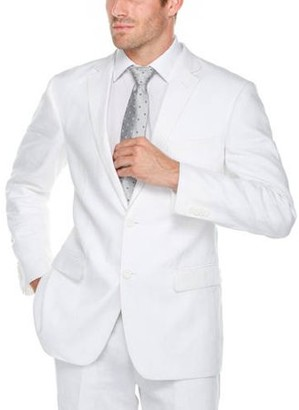Verno Men's White 100% Linen Classic Fit Suit
