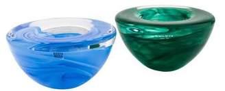 Kosta Boda Set of 2 Atoll Glass Votives