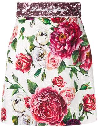 Dolce & Gabbana rose print brocade mini skirt