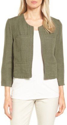 Women's Nordstrom Collection Crop Linen & Cotton Jacket $329 thestylecure.com