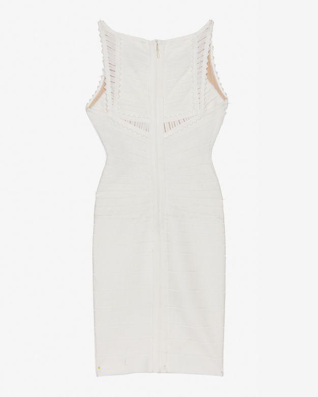 Herve Leger Ribbon Detail Bandage Dress: White