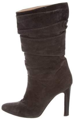 Manolo Blahnik Suede Semi Pointed-Toe Boots