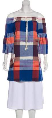 Warm Plaid Off-The-Shoulder Tunic