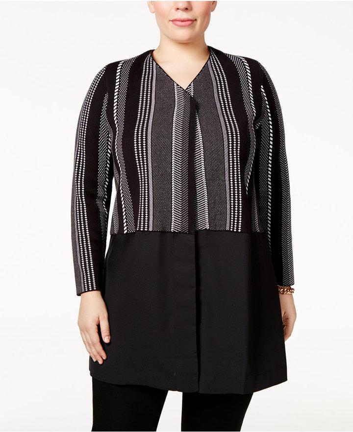AlfaniAlfani Plus Size Layered-Look Sweater Coat, Only at Macy's