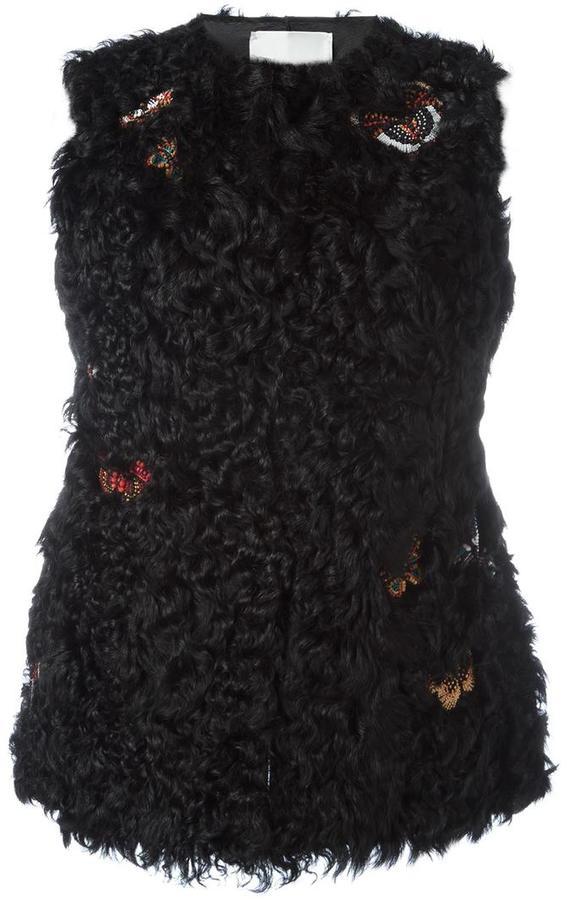 ValentinoValentino embroidered fur gillet