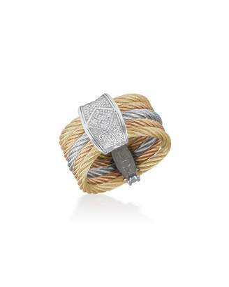 Alor Tricolor Stacked Ring w/ Diamond Pavé, Size 7