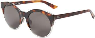 Christian Dior J6A/NR Sideral1 Tortoiseshell-Like & Silver-Tone Cat Eye Sunglasses
