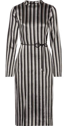 Protagonist Metallic Striped Woven Midi Dress - Silver