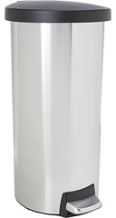 Simplehuman 30L Round Step Trash Can w/ Plastic Lid - Fingerprint-Proof