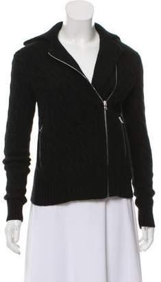 Ralph Lauren Black Label Cashmere Cable Knit Zip-Up Sweater