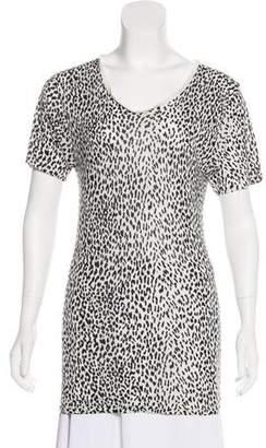 Saint Laurent Leopard Print Jersey T-Shirt