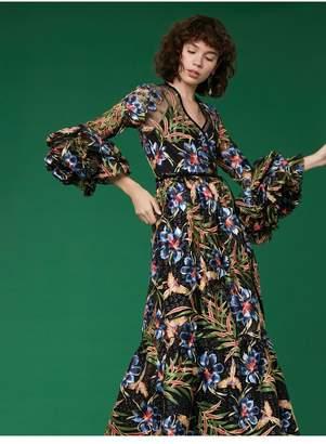 Diane von Furstenberg Puff Sleeve Maxi Wrap Dress
