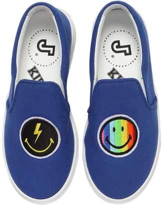 Joshua Sanders Rainbow Smile Canvas Slip-On Sneakers